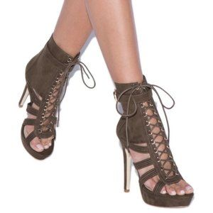 Shoedazzle Tonda Lace Up Stiletto Platform Booties
